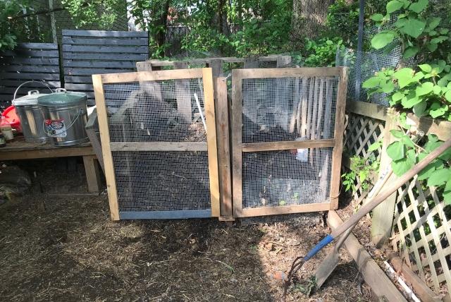 Wood and hardware mesh compost bin doors
