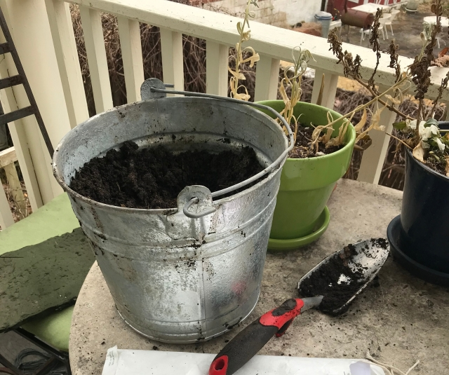 Bucket of soil