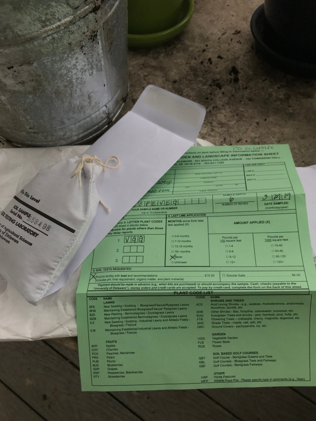 University of Delaware Soil Sample form and envelope/bag